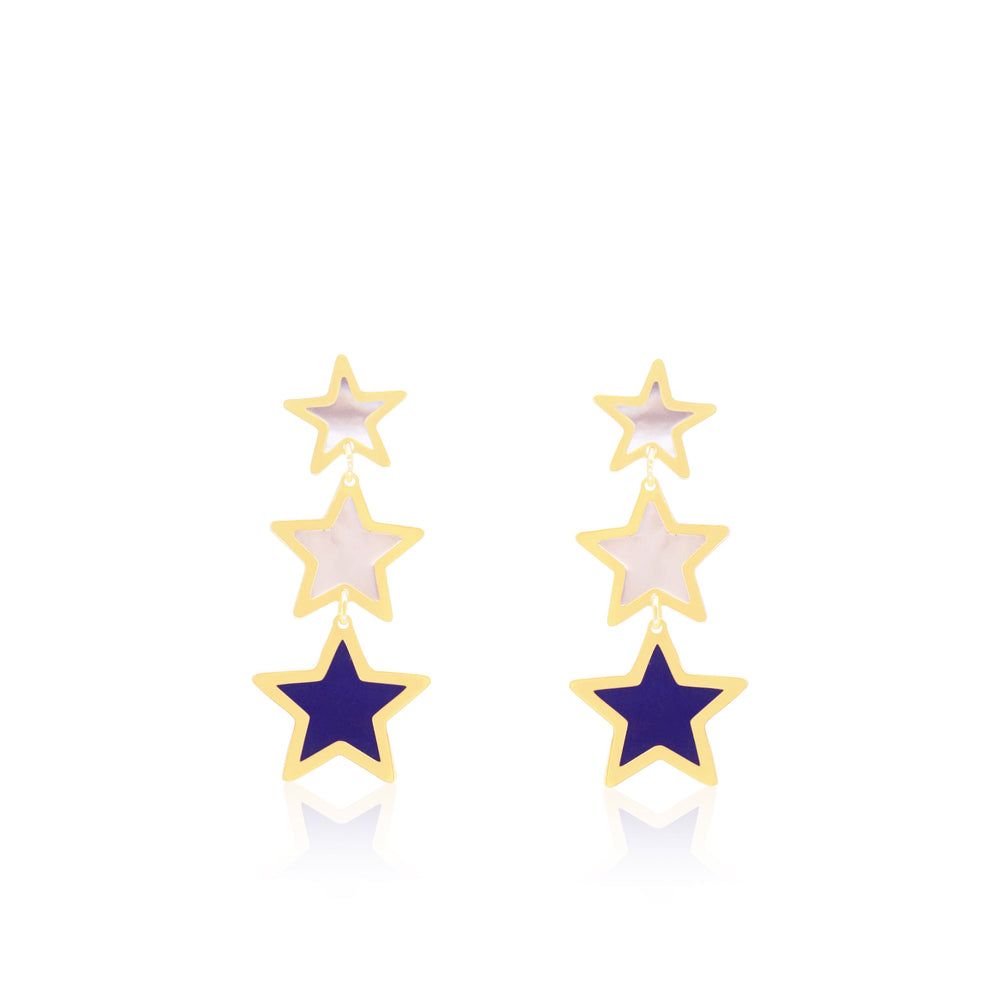 Mother of Pearl and Lapis Triple Star Dangle Earrings
