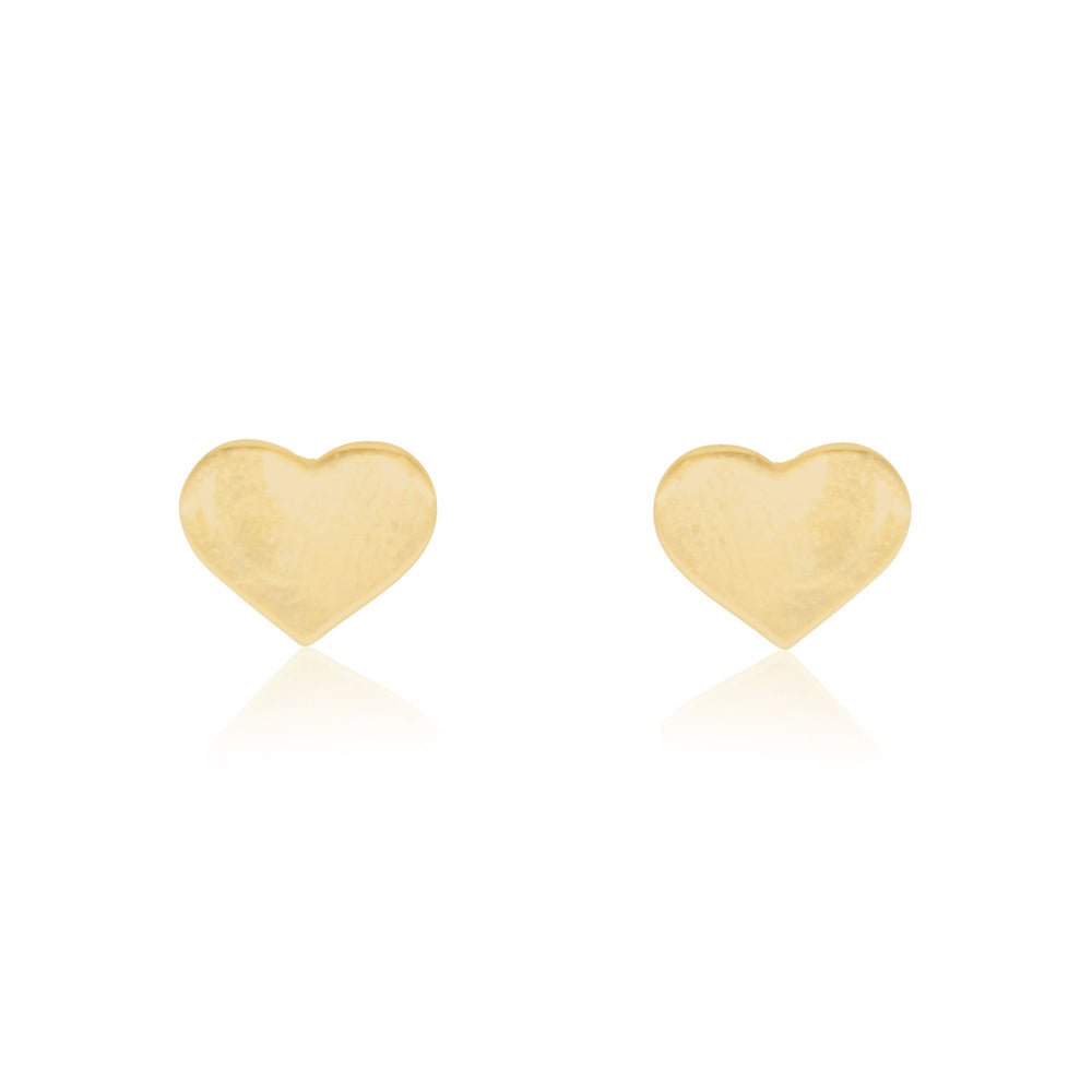 Large Gold Heart Stud Earrings
