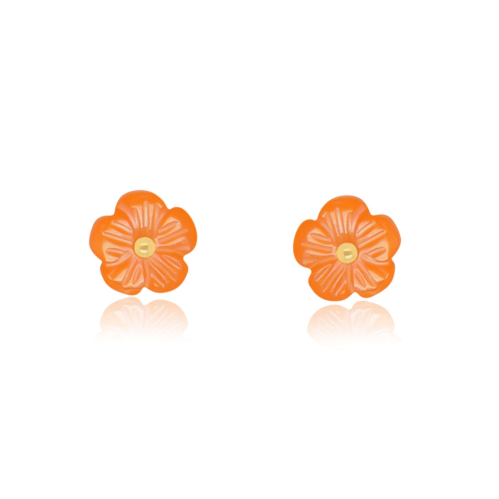Orange Flower Stud Earrings