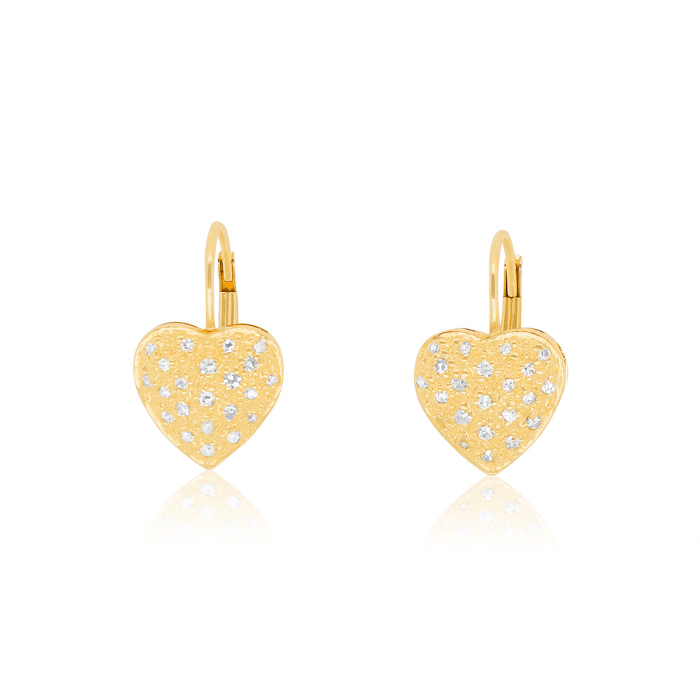 Heart Diamond Dangle Earrings
