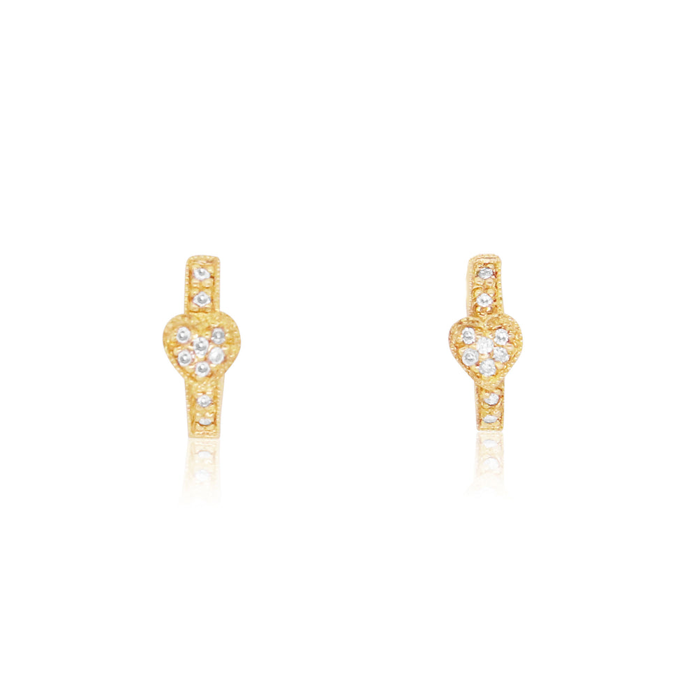 Diamond Heart Huggie Earrings