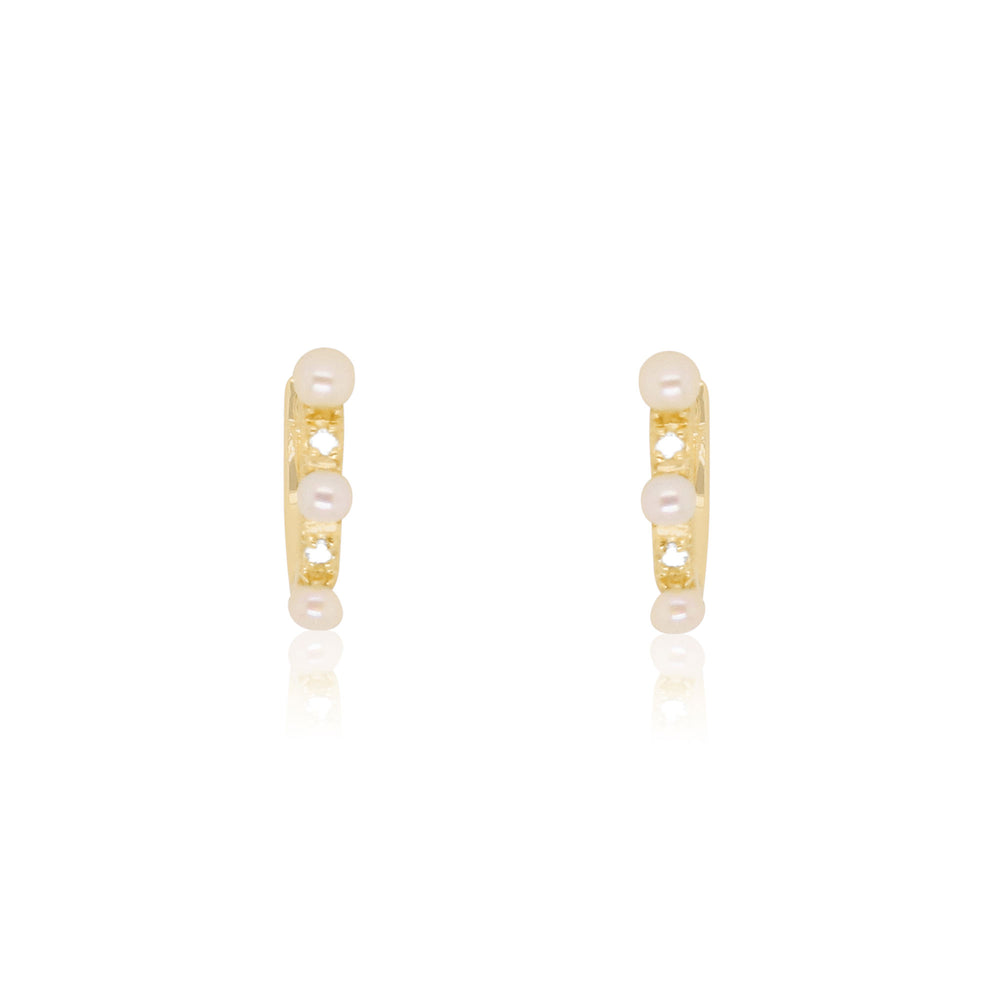 Pearl and Diamond Hoop Earrings