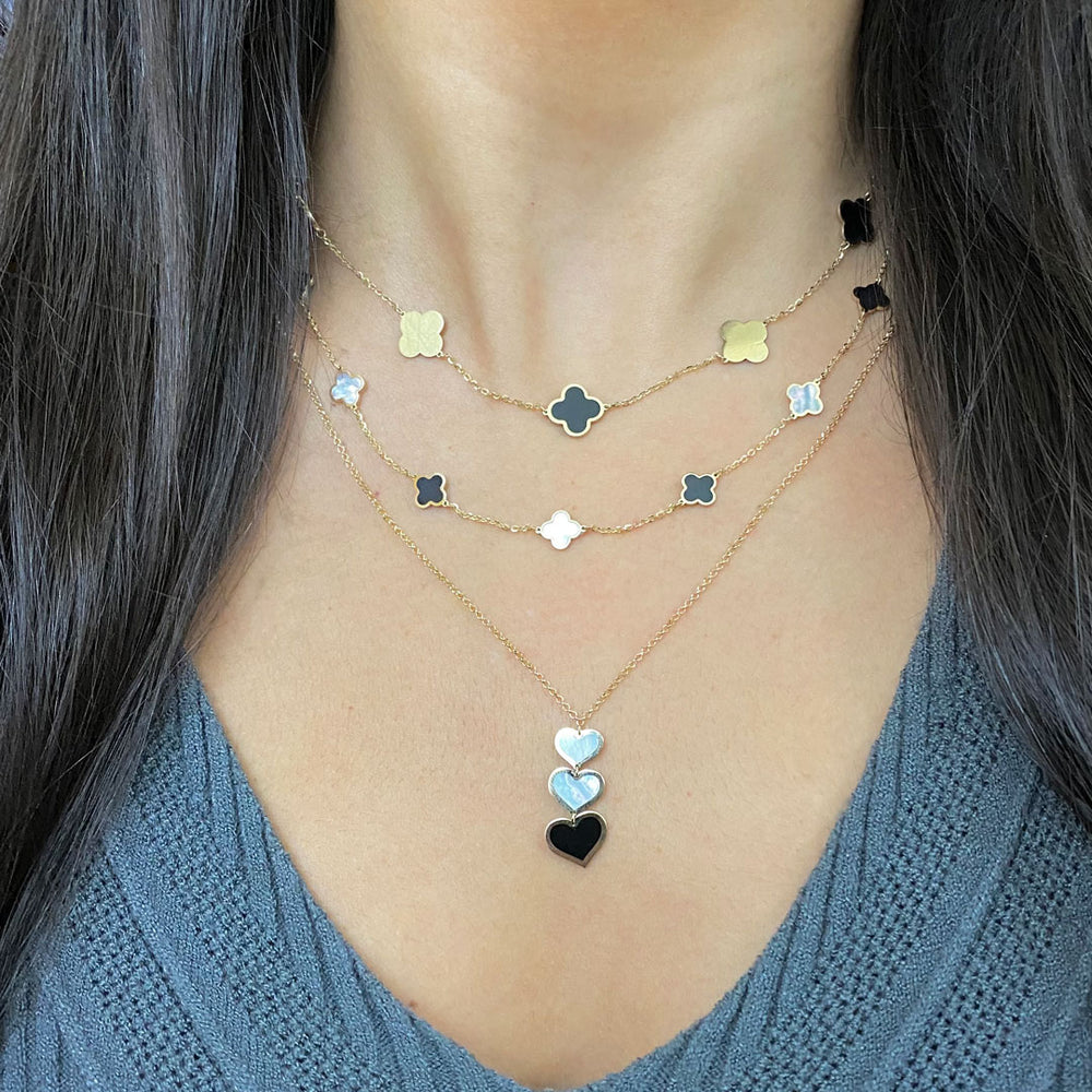 Mother of Pearl and Onyx Triple Heart Necklace