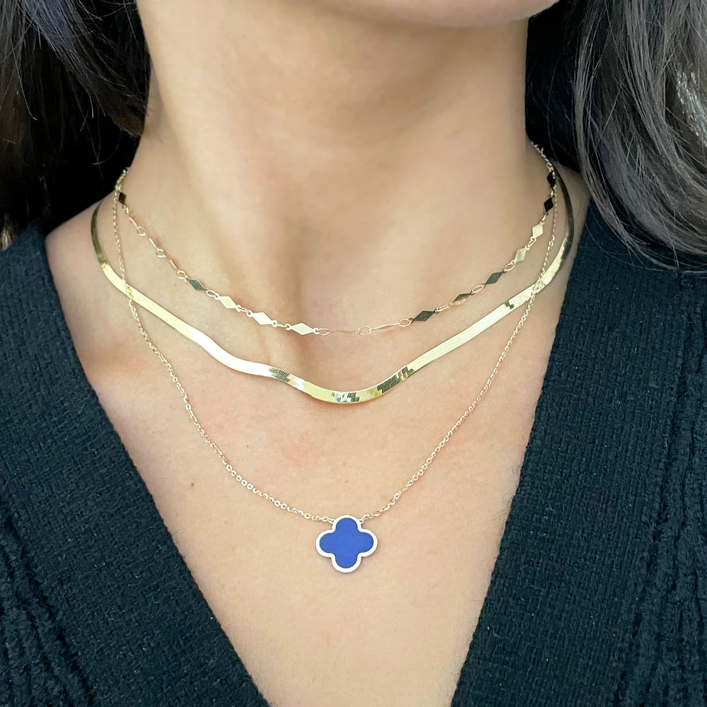 Lapis Single Clover Necklace