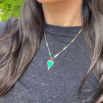 Baguette Green Malachite Chain Necklace