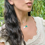 Baguette Malachite Halfway Chain Necklace