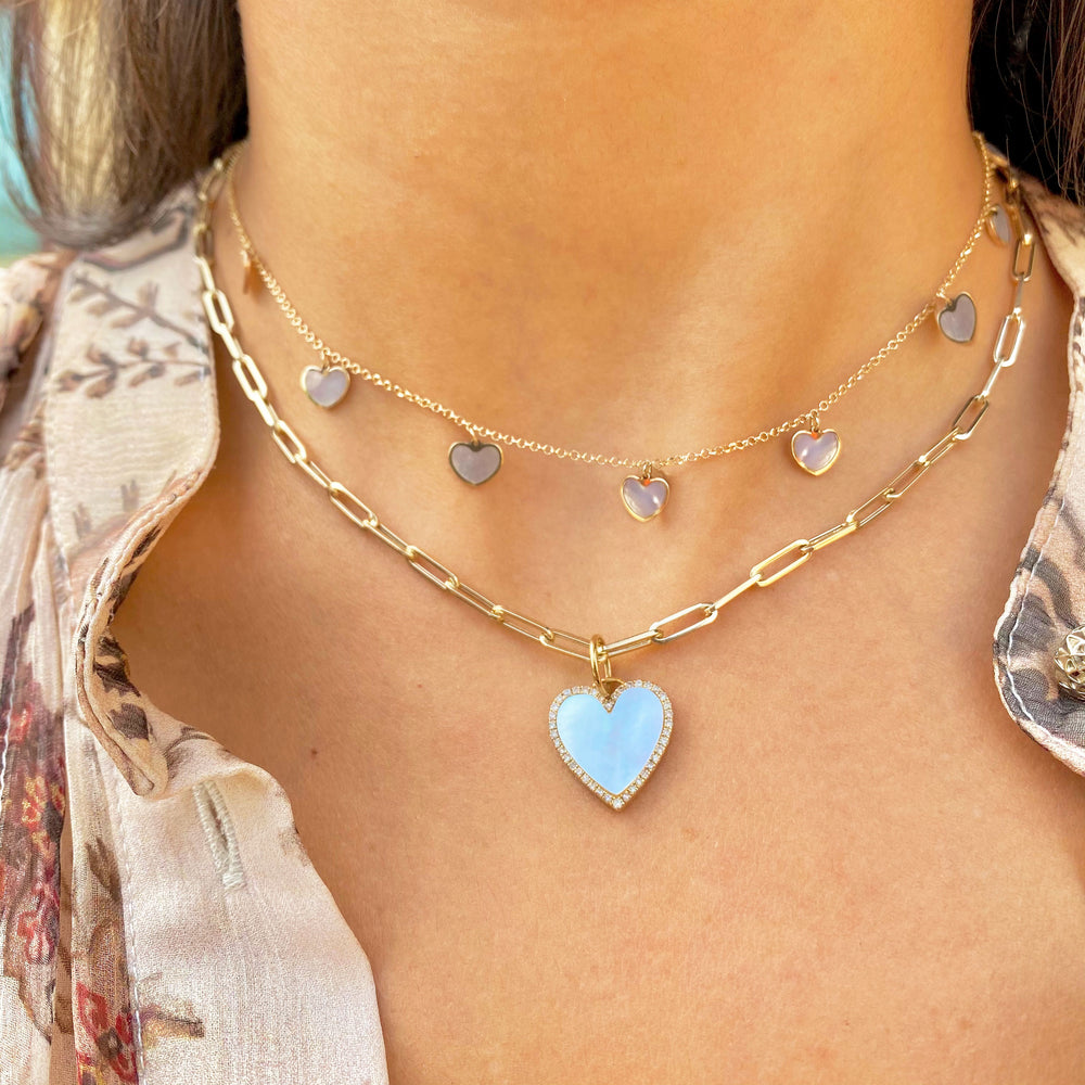 Chubby Mother of Pearl Heart Halo Charm