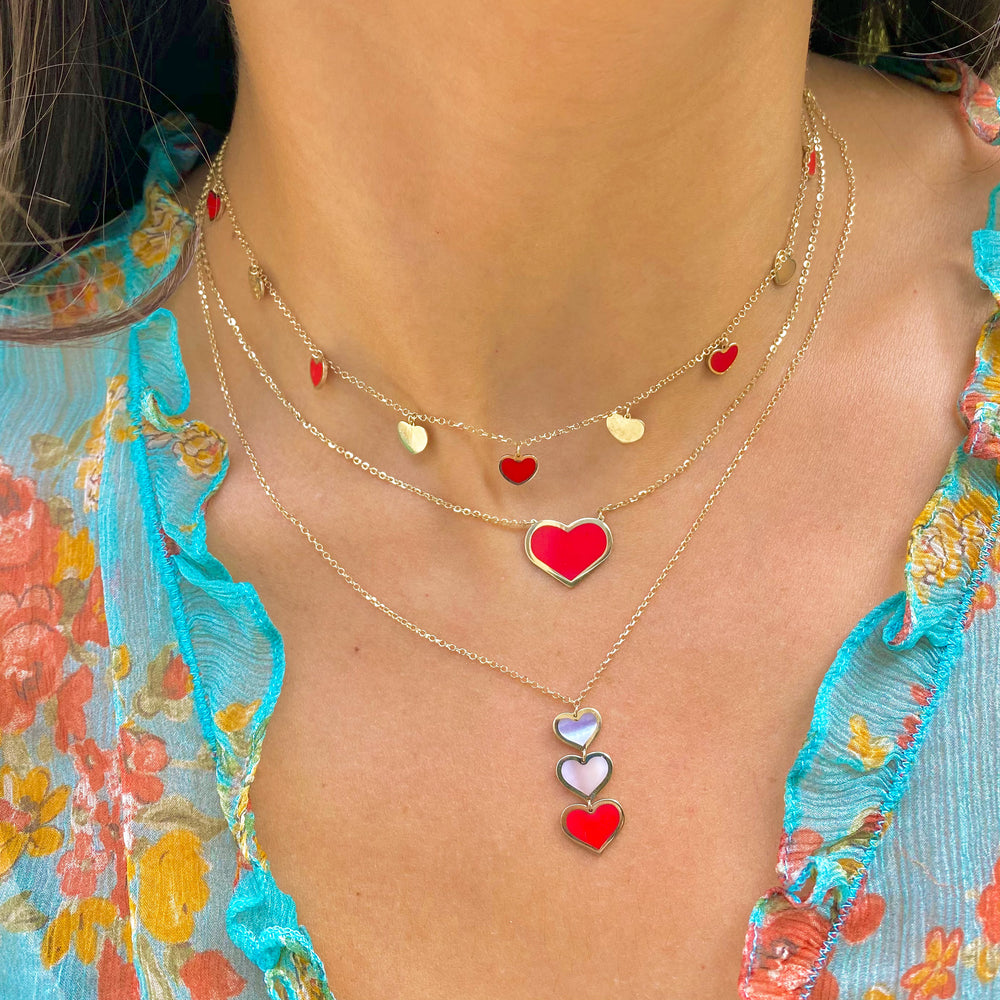 Large Coral Heart Necklace