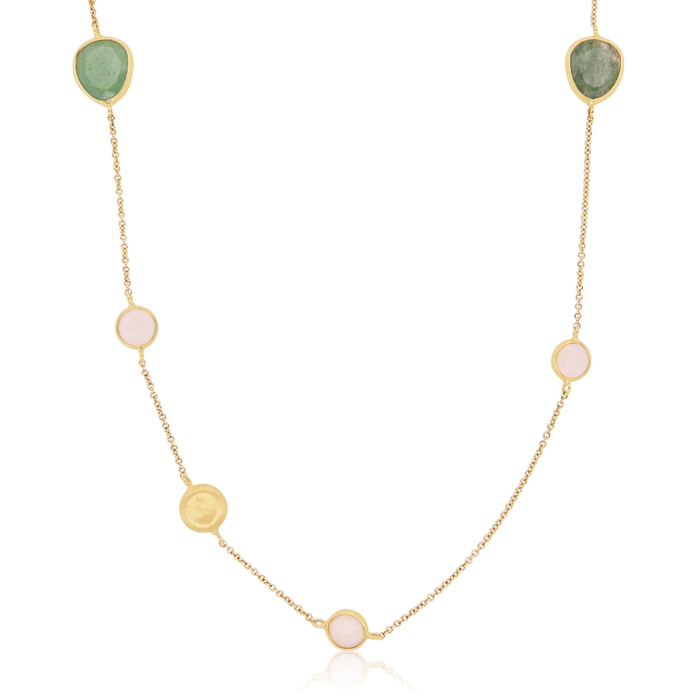 Green Multicolor Gemstone Necklace