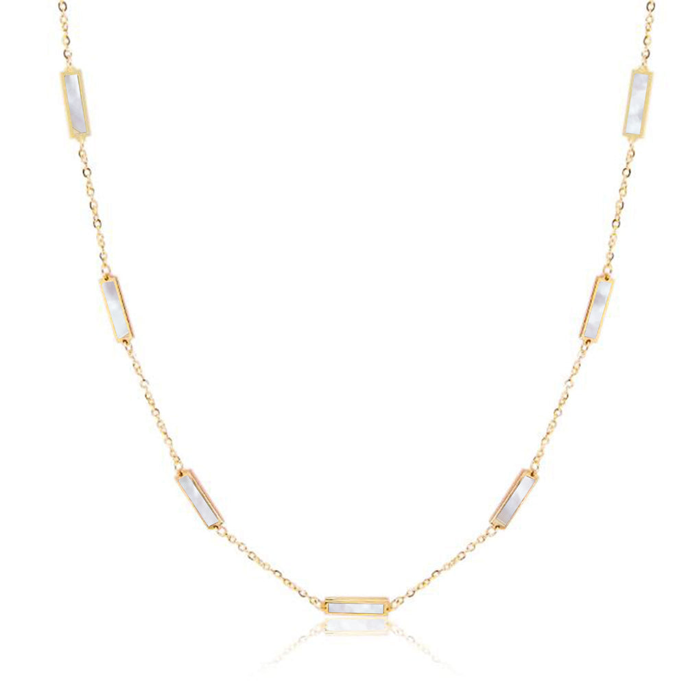 Baguette Mother of Pearl Half Chain Necklace
