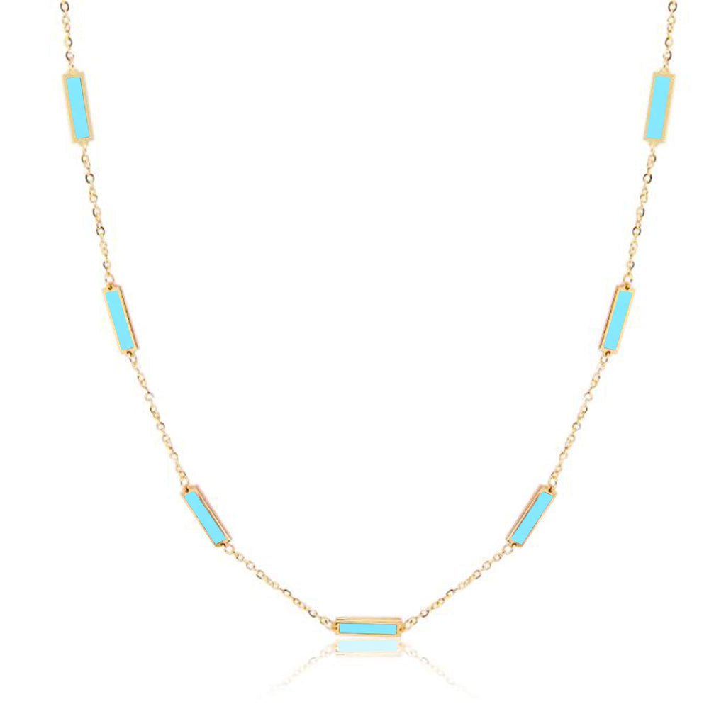 Baguette Turquoise Chain Necklace