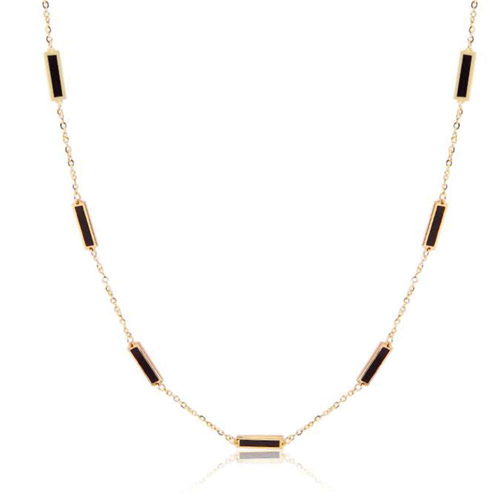 Baguette Onyx Half Chain Necklace