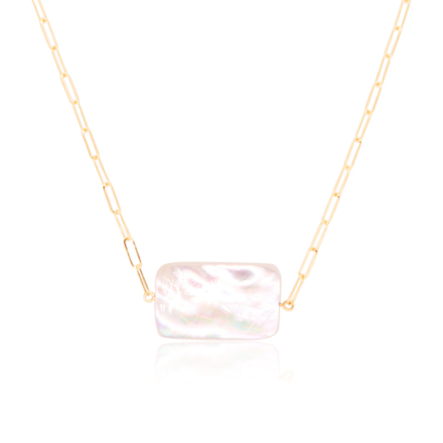 Emerald Cut Mother of Pearl Paperclip Necklace
