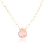 Pear Shape Pink Mother of Pearl Paperclip Necklace