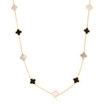 Mini Mother of Pearl and Onyx Clover Necklace