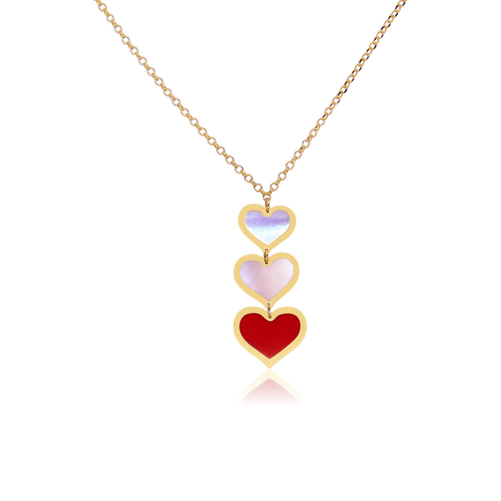 Coral and Mother of Pearl Triple Heart Necklace