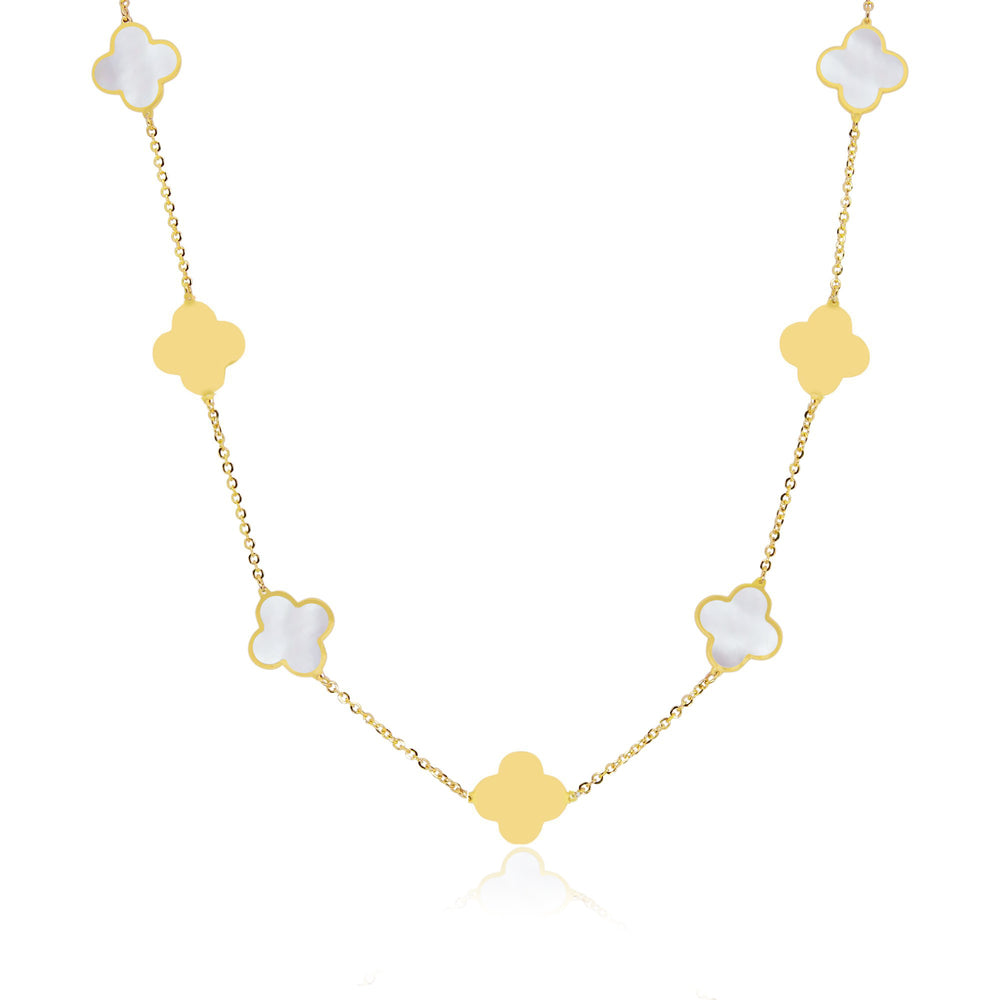 Large Mother of Pearl and Gold Clover Necklace