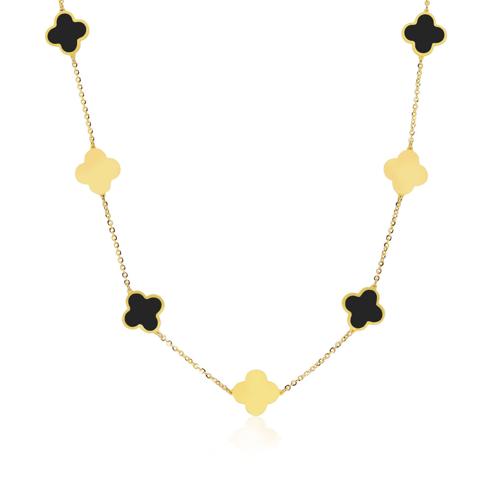 Large Onyx and Gold Clover Necklace