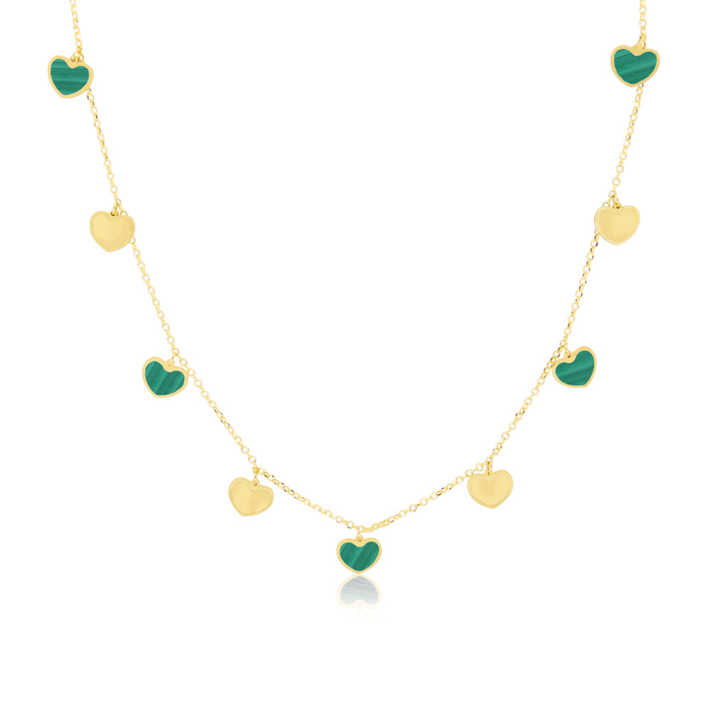Malachite and Gold Heart Charm Necklace