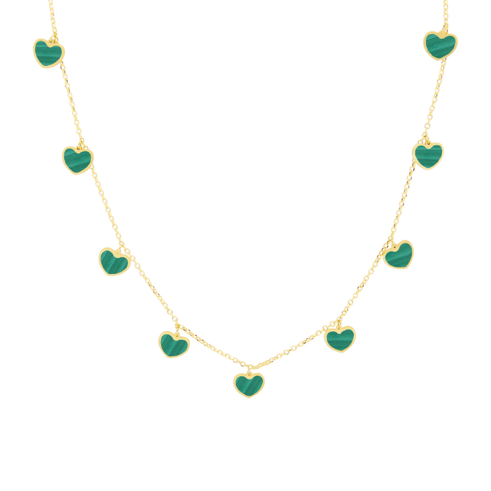 Malachite Heart Charm Necklace