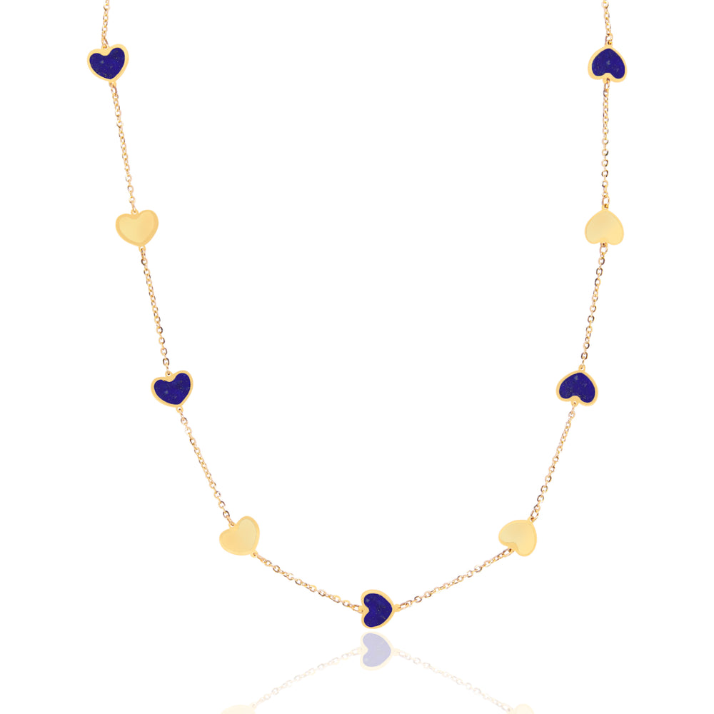 Lapis and Gold Heart Station Necklace
