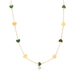 Malachite and Gold Heart Station Necklace