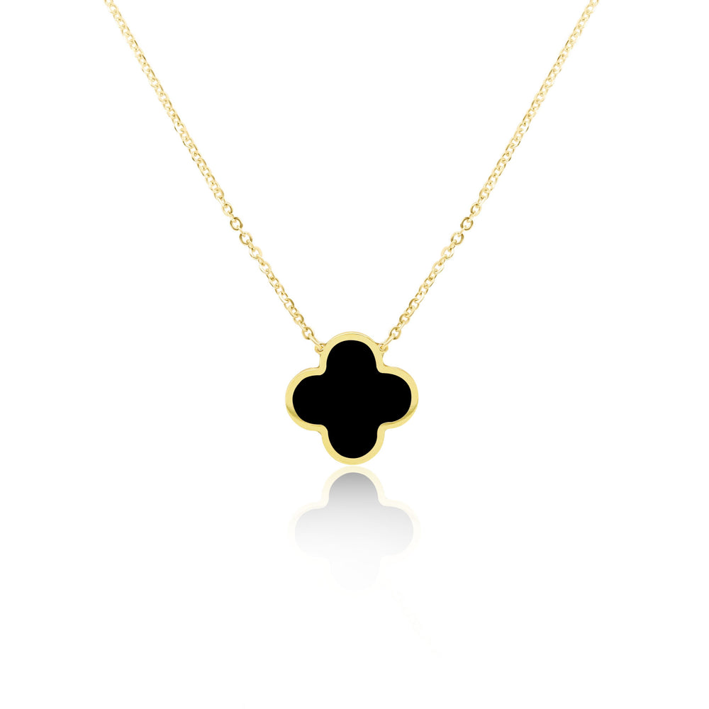 Onyx Single Clover Necklace