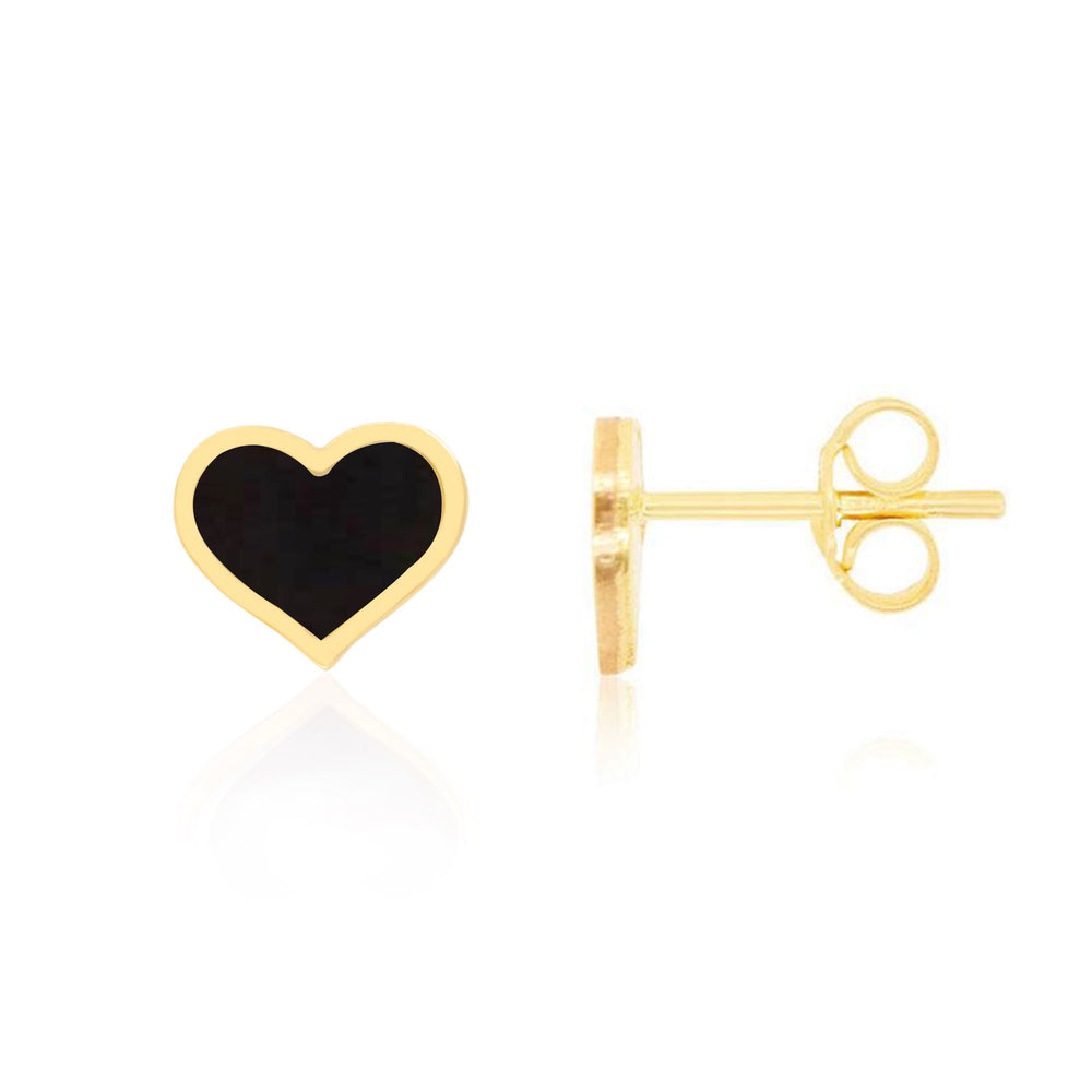 Large Onyx Heart Stud Earrings