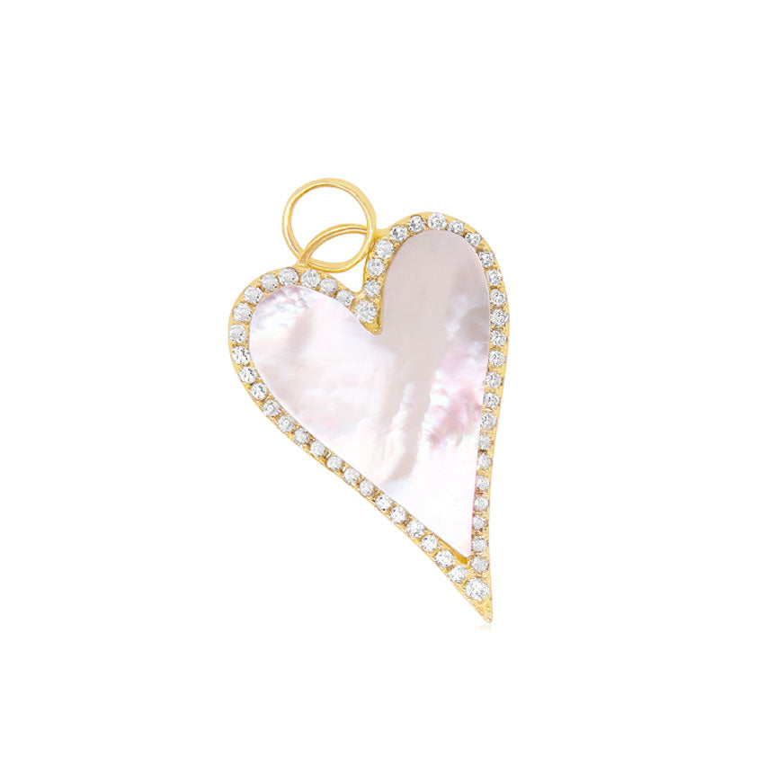 Mother of Pearl Heart Halo Charm