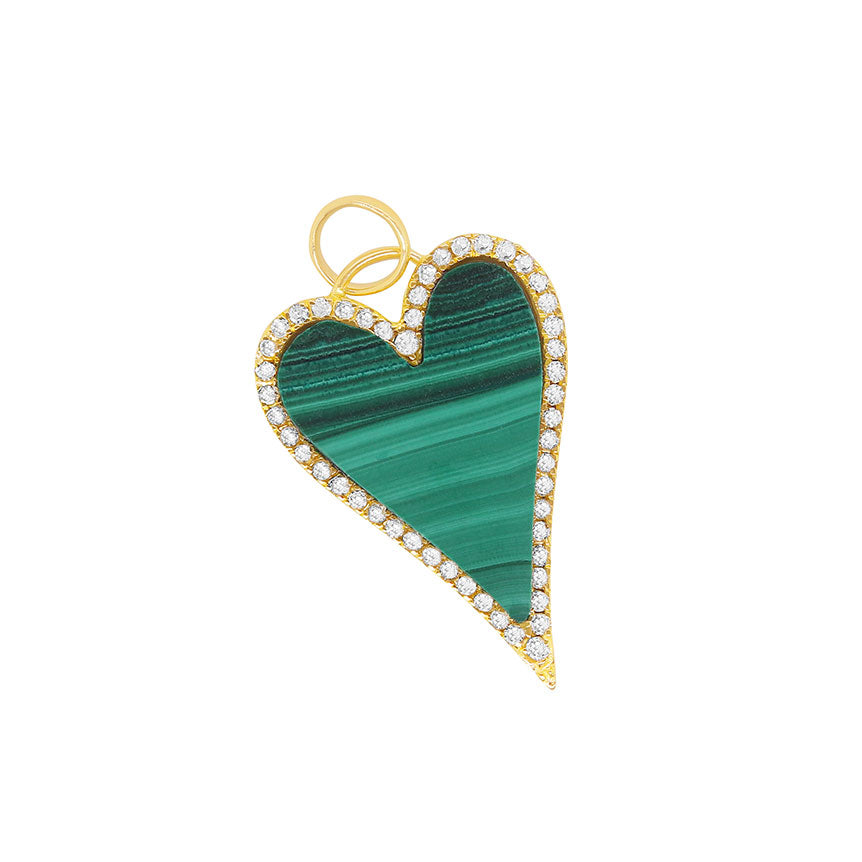 Heart Shape Malachite Halo Pendant