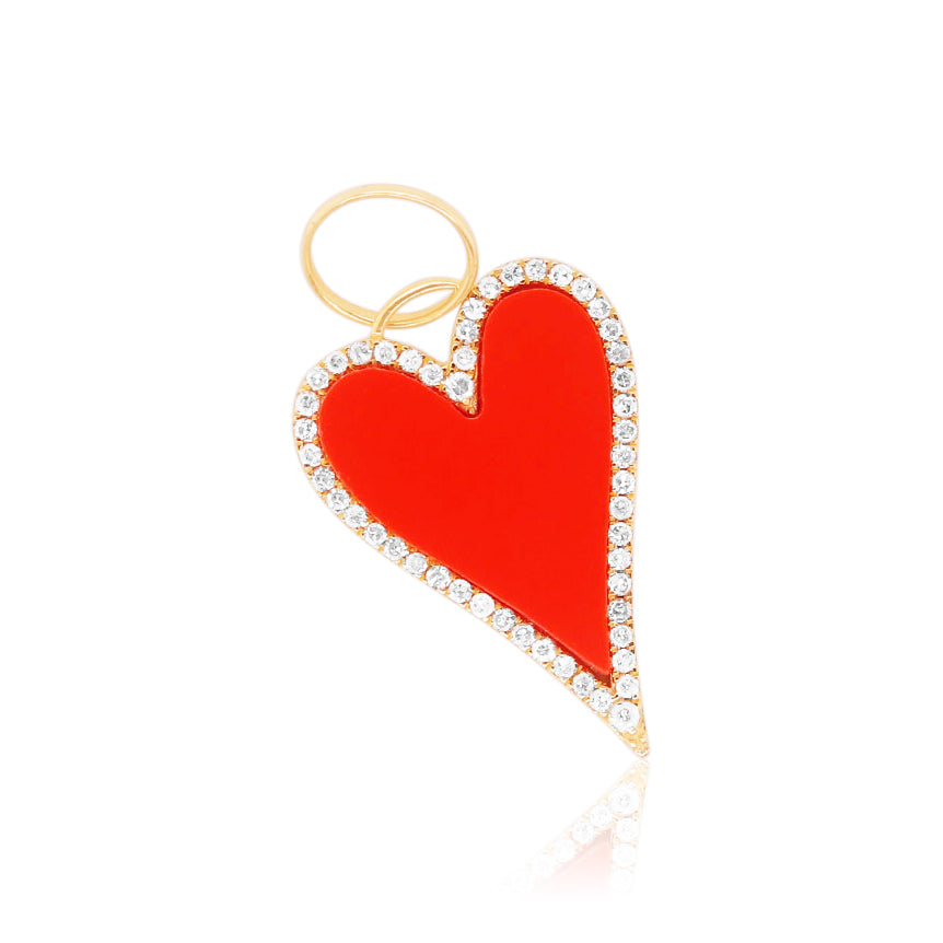 Coral Heart Halo Charm
