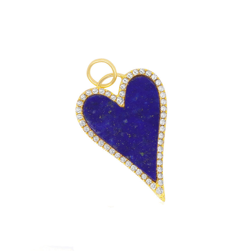 Heart Shape Lapis Halo Pendant