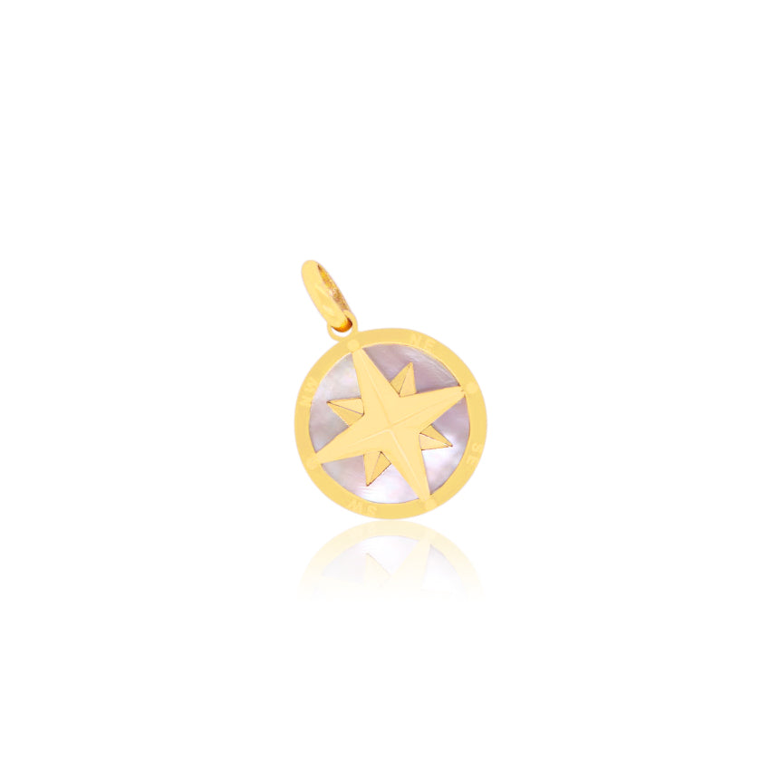 Mother of Pearl Compass Charm