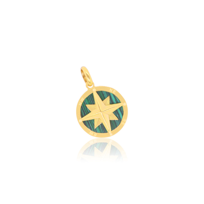 Malachite Compass Charm