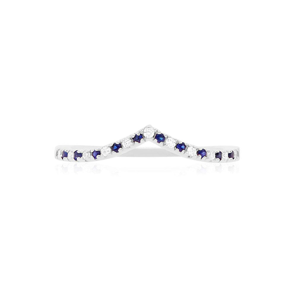 Blue Sapphire and Diamond V Shaped Band