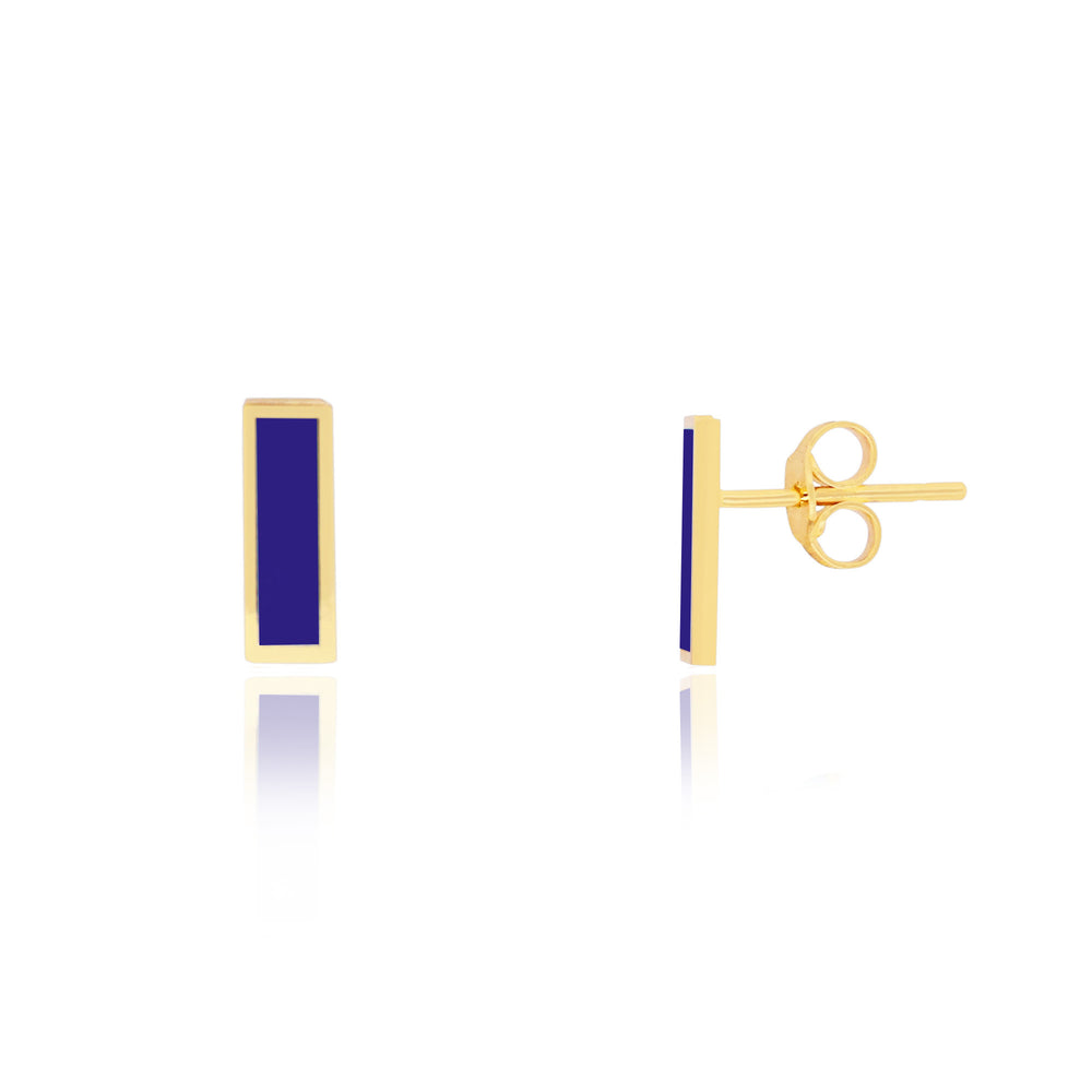 Lapis Baguette Stud Earrings