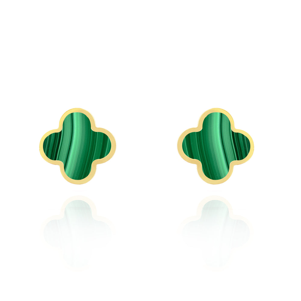 Large Malachite Clover Stud Earrings