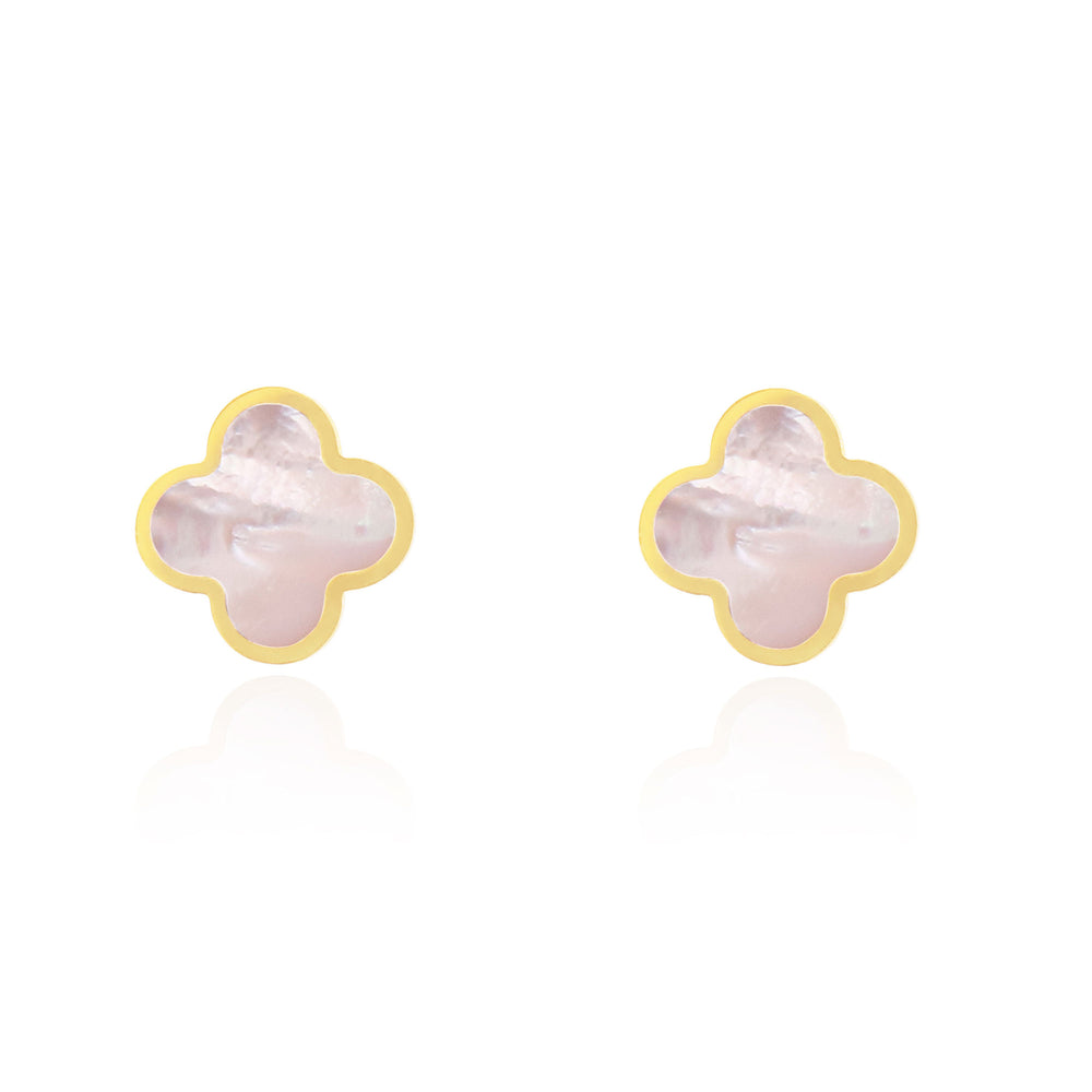 Large Mother of Pearl Clover Stud Earrings