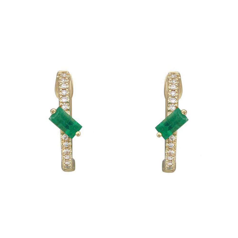 Baguette Emerald Huggie Hoop Earrings