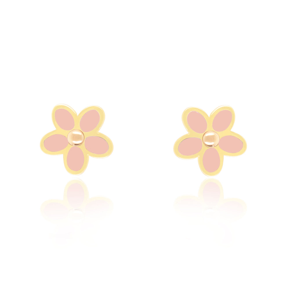 Pink Mother of Pearl Flower Stud Earrings