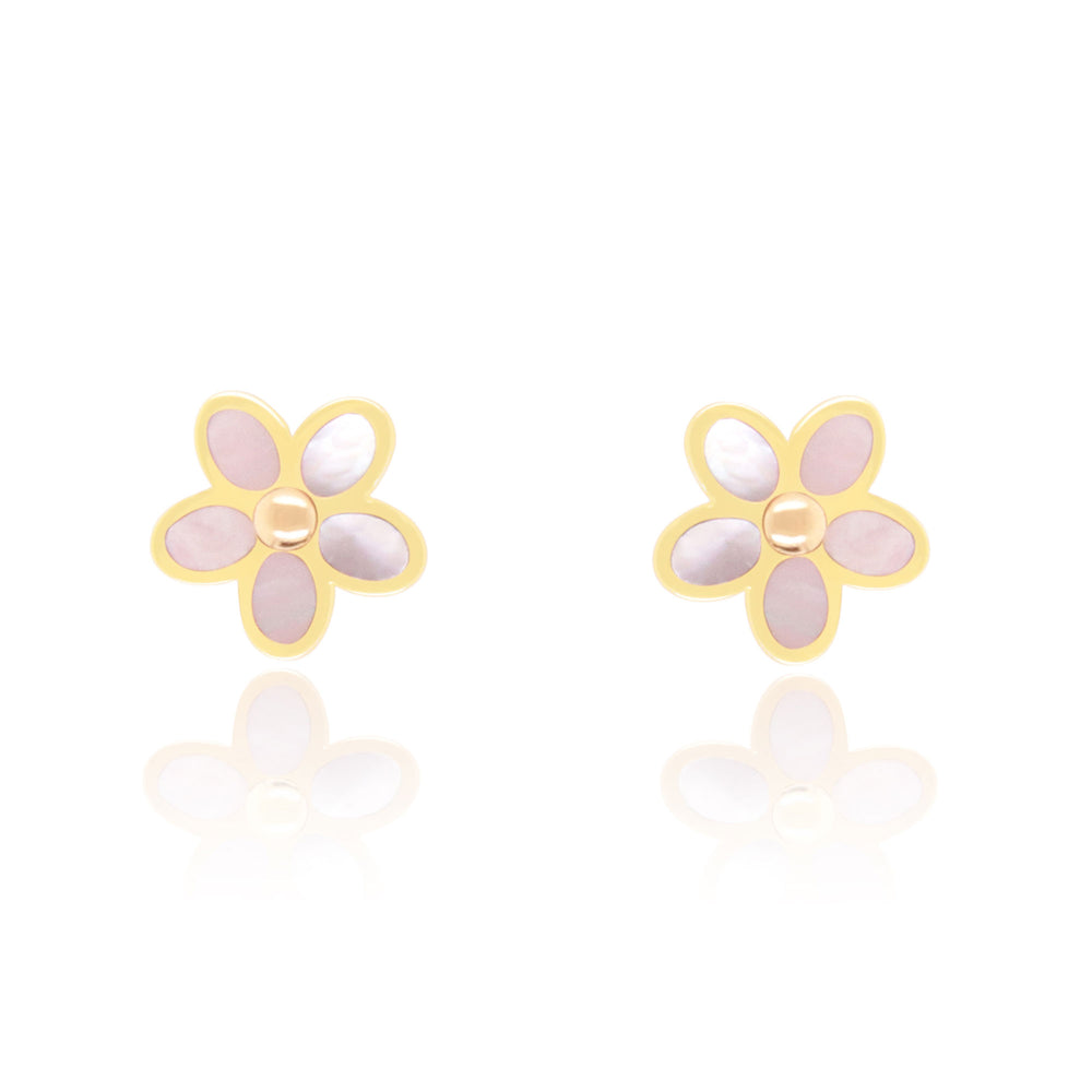 Mother of Pearl Flower Stud Earrings