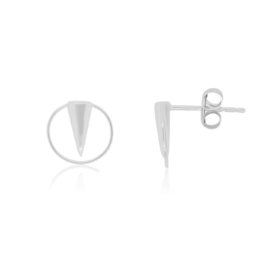 Geometric Spike Stud Earrings in White Gold