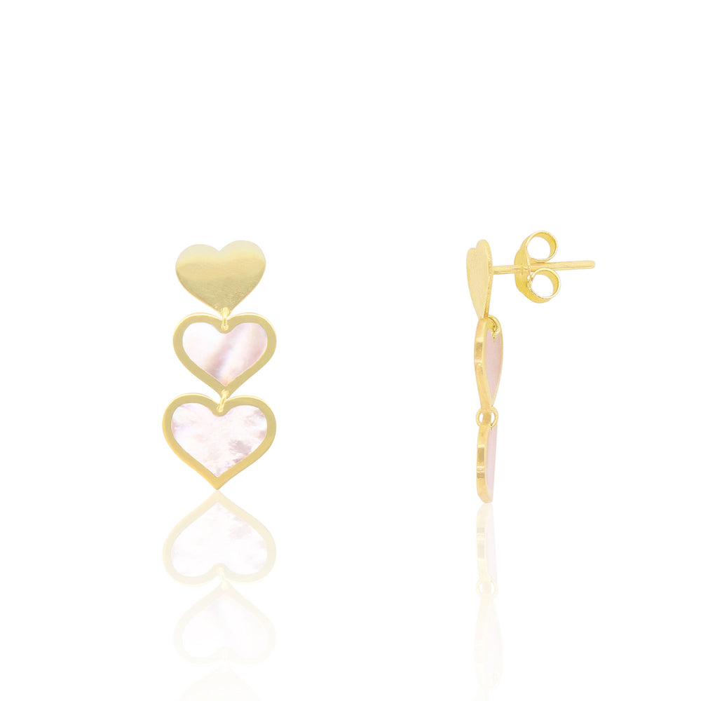 Mother of Pearl Triple Heart Dangle Earrings