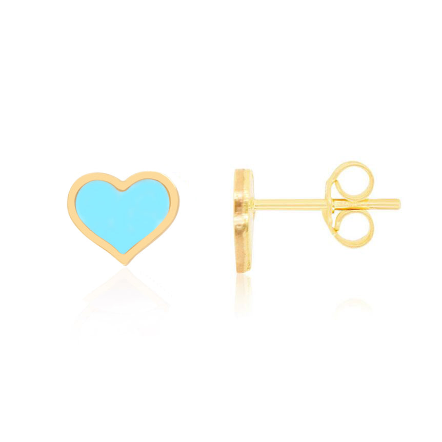 Large Turquoise Heart Stud Earrings