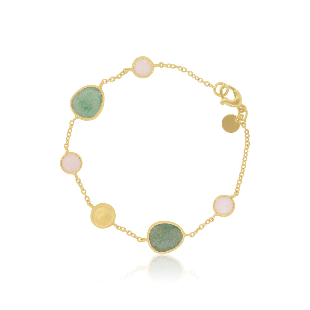 Green Multicolor Gemstone Station Bracelet
