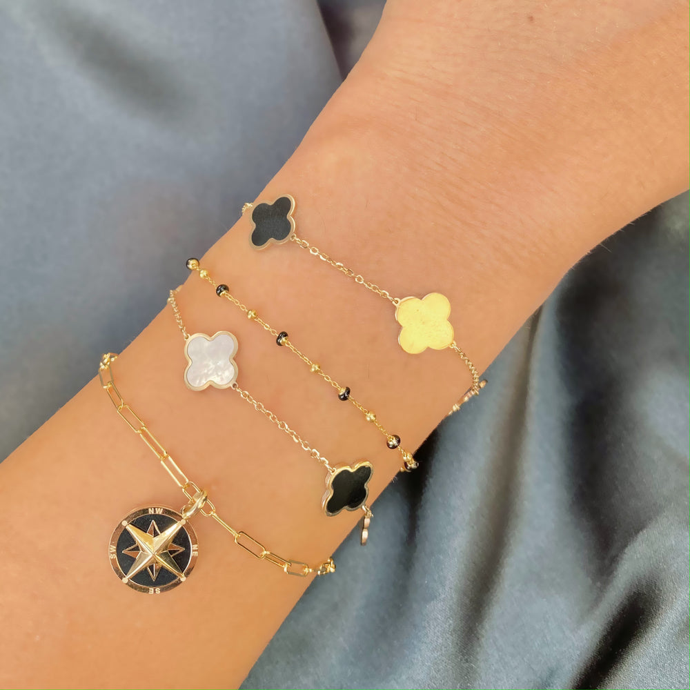 Large Onyx and Gold Clover Bracelet