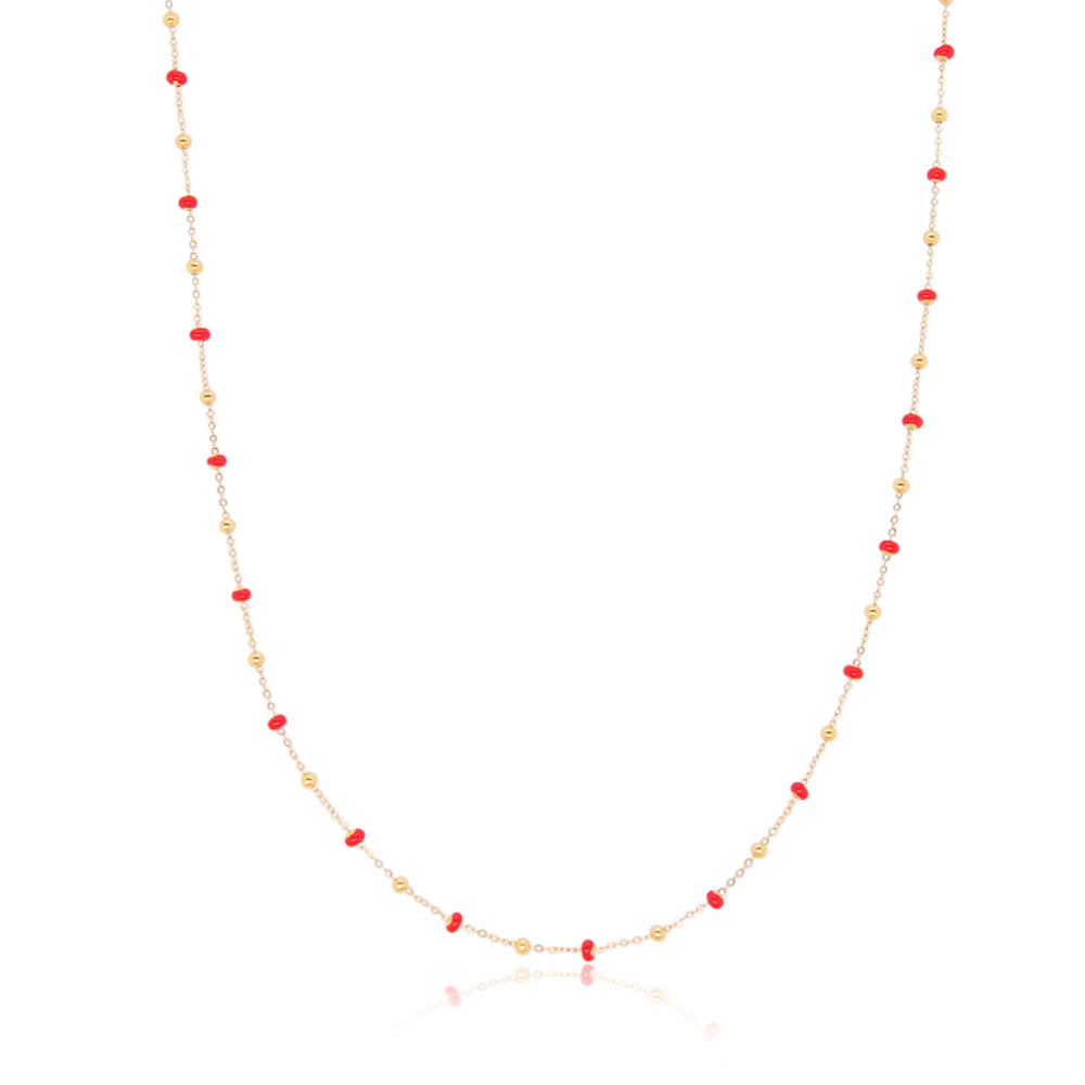Red Enamel Bead Necklace
