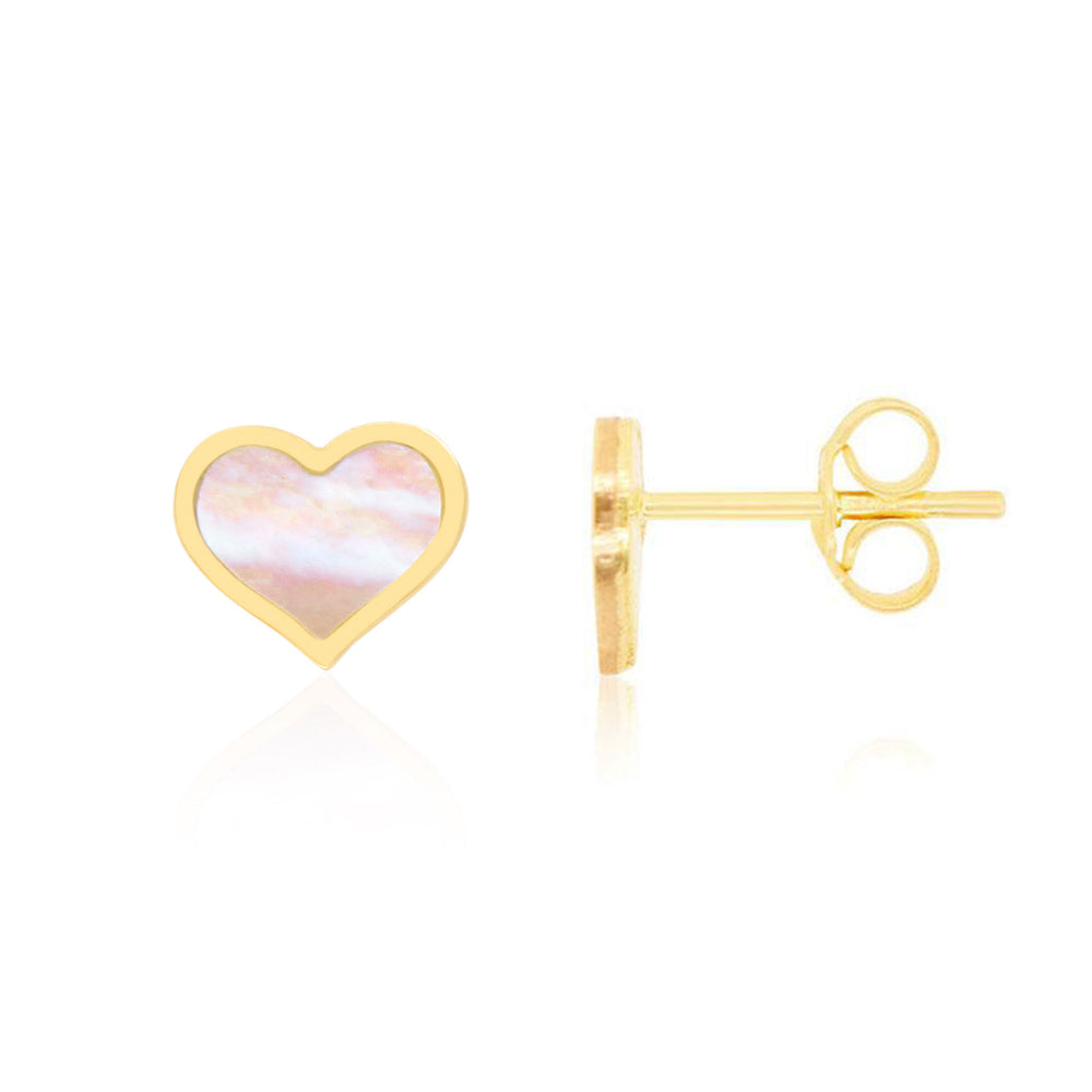 Large Mother of Pearl Heart Stud Earrings