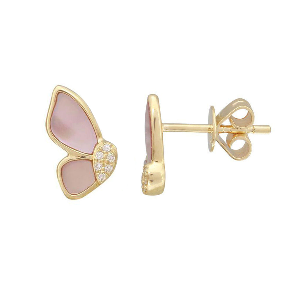 Rose Quartz Butterfly Stud Earrings