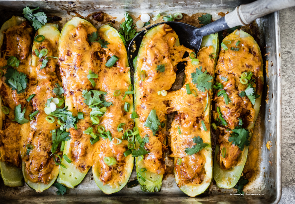 low carb bbq chicken recipe - bbq chicken zucchini boat - low carb super bowl - healthy super bowl - keto super bowl recipes - healthy super bowl snacks - super bowl party healthy food